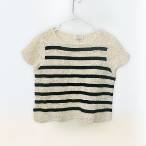 Anthro Harlyn Stripe Off White Lace Top Size: Small